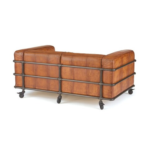 Piped Leather Sofa