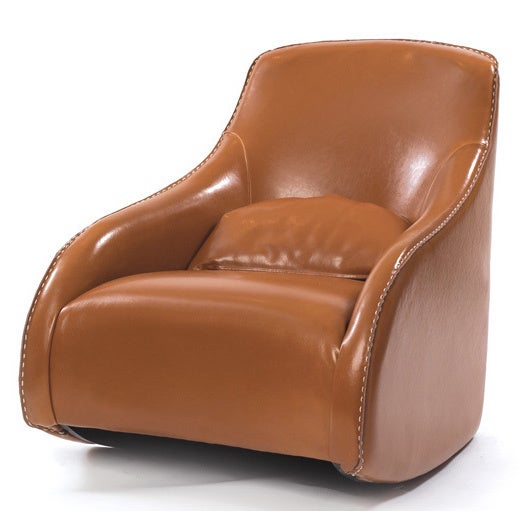 Tan Stitched Leather Chair (Contemporary Style Baseball G...