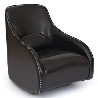 Hip Vintage Curved Black Leather Chair