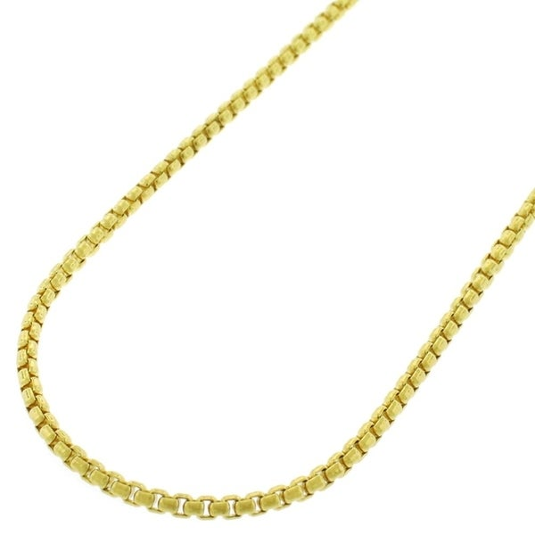 """14k Yellow Gold 1.7mm Round Box Link Necklace Chain 16"""" - 24"""""""