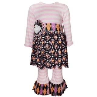 Ann Loren Girls' Pink/Purple/Grey Cotton Boutique Striped Gathered Medallion Outfit