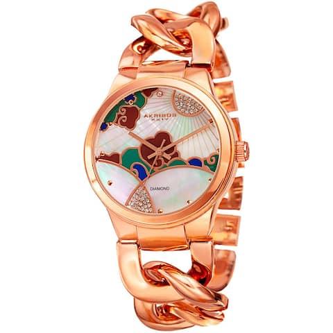 Akribos XXIV Women's Quartz Diamond Rose-Tone Chain Bracelet Watch