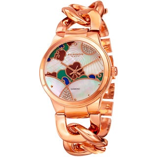Akribos XXIV Women's Quartz Diamond Rose-Tone Chain Bracelet Watch