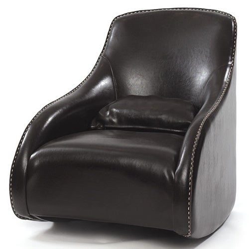 Brown Stitched Leather Chair