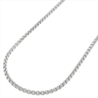 14k White Gold 2mm Round Box Necklace