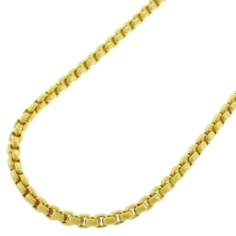 14K Yellow Gold 2.5MM Round Box Link Necklace Chains, Gold Chain for Men & Women, 100% Real 14K Gold, Capital Jewelry