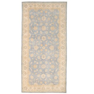 Herat Oriental Afghan Hand-knotted Oushak Light Blue/ Ivory Wool Rug (8'10 x 17'9)