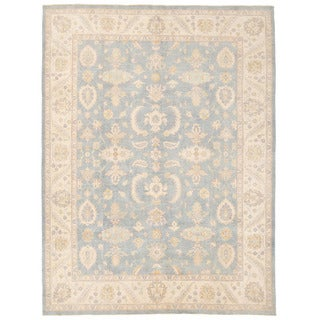 Herat Oriental Afghan Hand-knotted Oushak Light Blue/ Ivory Wool Rug (9' x 11'9)