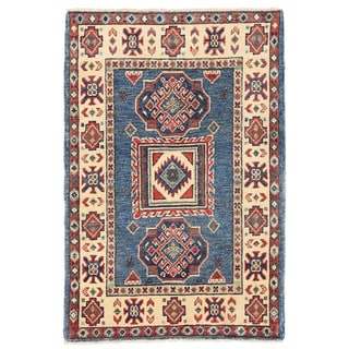 Herat Oriental Afghan Hand-knotted Kazak Blue/ Ivory Wool Rug (2'1 x 3'2)