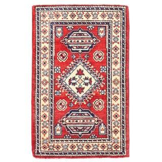 Herat Oriental Afghan Hand-knotted Kazak Wool Rug (1'11 x 3')