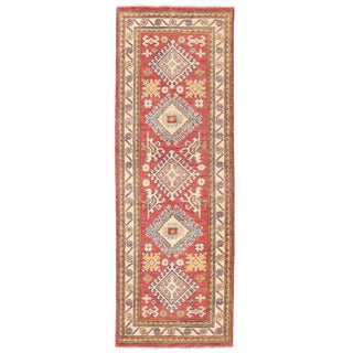 Herat Oriental Afghan Hand-knotted Kazak Rust/ Ivory Wool Runner (2'1 x 6'1)