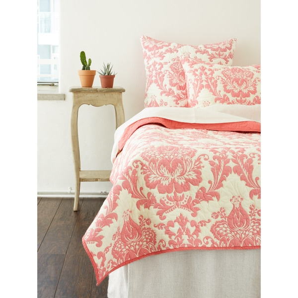 Dalilah Damask Coral Cotton Quilt