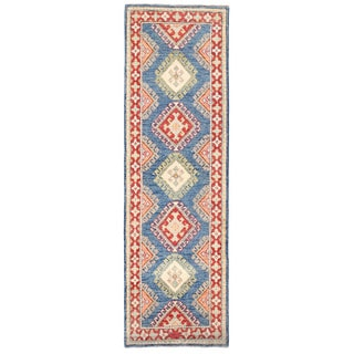 Herat Oriental Afghan Hand-knotted Kazak Blue/ Red Wool Runner (2'1 x 7')