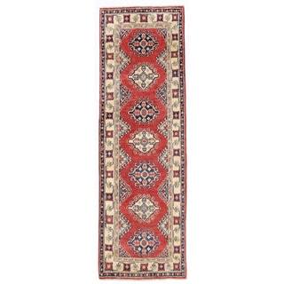 Herat Oriental Afghan Hand-knotted Kazak Rust/ Ivory Wool Runner (1'11 x 6'2)