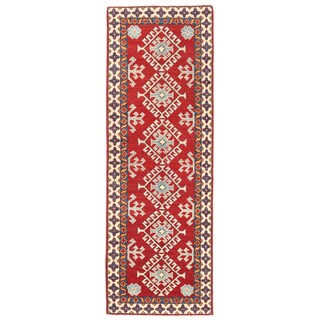Herat Oriental Afghan Hand-knotted Kazak Wool Runner (2' x 6'3)