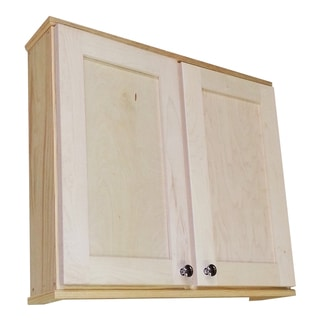 WG Wood Products Shawnee Series Natural Wood 24-inch x 5.5-inch Double Door Wall Cabinet