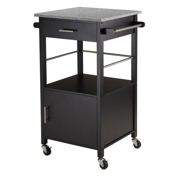 Winsome Davenport Black Granite Storage Kitchen Cart