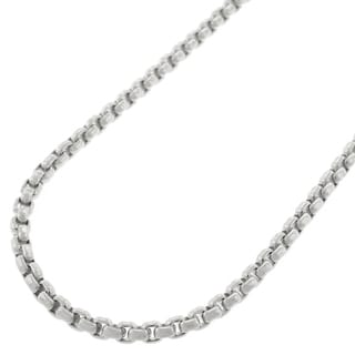 14k White Gold 2.5mm Round Box Necklace