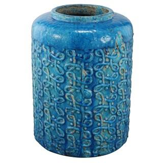 Classic Blue Ceramic 13-inch x 18-inch Vase
