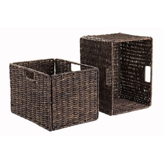Winsome Granville Corn Husk Brown Organic Storage Foldable Tall Baskets (Set of 2)