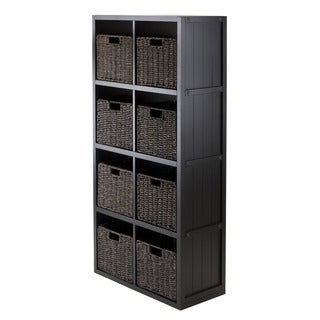 Winsome Black Wood 4 x 2 Cube Storage Shelf with Baskets (Pack of 9)