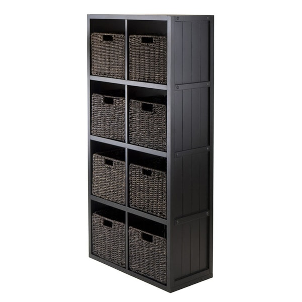 shop winsome black wood 4 x 2 cube storage shelf with baskets pack rh overstock com  wooden storage shelf with wicker baskets