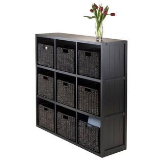 Winsome Black Wood 3 x 3 Storage Cube Wainscoting Panel Shelf with Nine Foldable Baskets