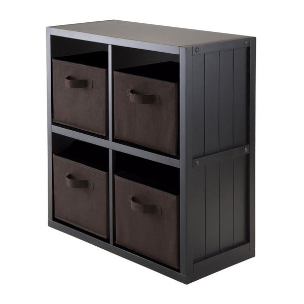 Winsome Brown Wood 2 x 2 Storage Cube Wainscoting Panel Shelf With 4 Chocolate Fabric Baskets