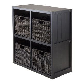 Winsome Black Wood 2 x 2 Storage Cube Wainscoting Panel Shelf With 4 Foldable Baskets