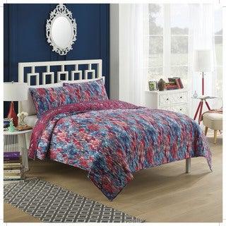 Vue Tao Damask Reversible 3-piece Cotton Quilt Set