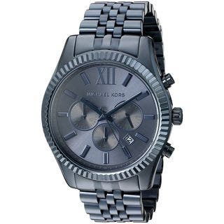 Michael Kors Men's MK8480 'Lexington' Chronograph Blue Stainless Steel Watch|https://ak1.ostkcdn.com/images/products/11903735/P18797101.jpg?impolicy=medium