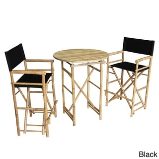 Zew Handcrafted Round Natural Bar Height Pub Set
