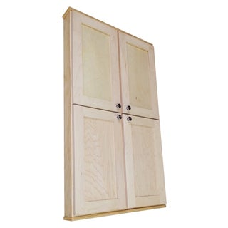 WG Wood Products Shawnee Series Solid Maple 48-inch High x 3.5-inch Deep Interior Double Door Wall Cabinet