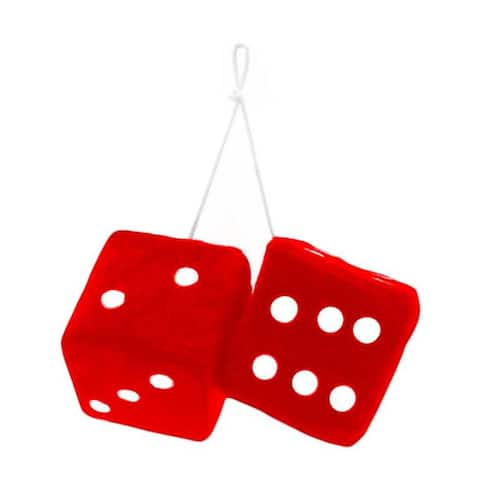 Zone Tech Red/White Fabric Hanging Dice Pair