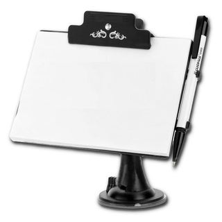 Zone Tech White/Black Multifunctional Car Memo Pad Holder Premium Quality Car Dashboard Pen and Notebook