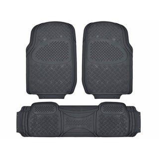 Zone Tech Grey Full Rubber Universal-fit Premium-quality All-weather Heavy-duty Vehicle Floor Mats (Pack of 3)