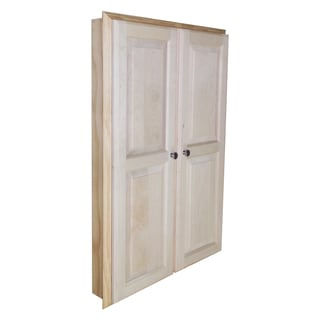 WG Wood Products Barcelona Natural Wood 42-inch x 2.5-inch Recessed Double Door Medicine Storage Cabinet