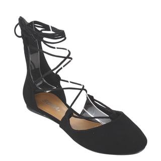 Soda Women's IB67 Nubuck Faux Leather Ankle-tie Ballet Flats