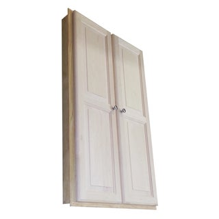 Barcelona Unfinished Wood 49.5-inch x 29.5-inch x 3.5-inch Recessed Double-door Medicine Cabinet
