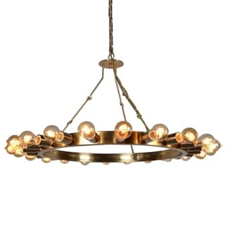 Raykovich Iron Frame Wagon Wheel Inspired 22-light Chandelier