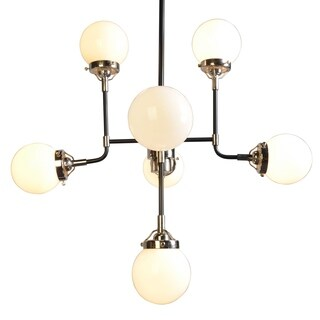Dalinni Iron Chrome Finish 8-light Contemporary Multi-directional Chandelier with White Frosted Glass