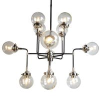 Y-Decor 12 Light Chandelier in Black and Chrome Finish