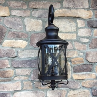 Taysom Oil Rubbed Bronze 1-light Outdoor Light Fixture with Clear Seedy Glass Shade