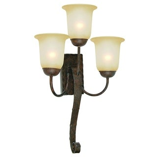 Wall Sconce Light Fixture Gianni Bronze Patina Finish 3-light Wall Sconce Fixture with Alabaster Glass Shades