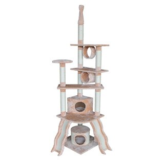 Kitty Mansions San Francisco Beige Faux Fur/Sisal Rope Cat Tree