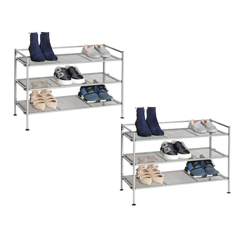 Seville Classics Satin Pewter 3-Tier Iron Mesh Stackable Shoe Rack (2-Pack)