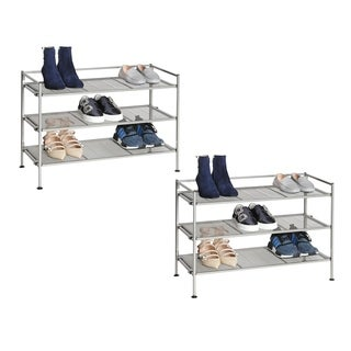 Seville Classics Satin Pewter Iron Set of 2 3-tier Mesh Utility Shoe Racks