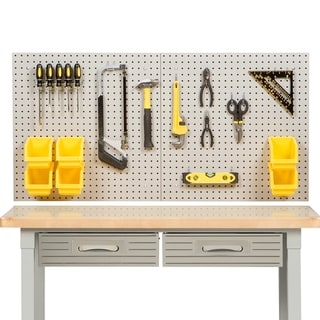 Seville Classics UltraHD Steel Pegboard Set with 23-Piece Hook Assortment and 6 Bins. 24 in x 48 in