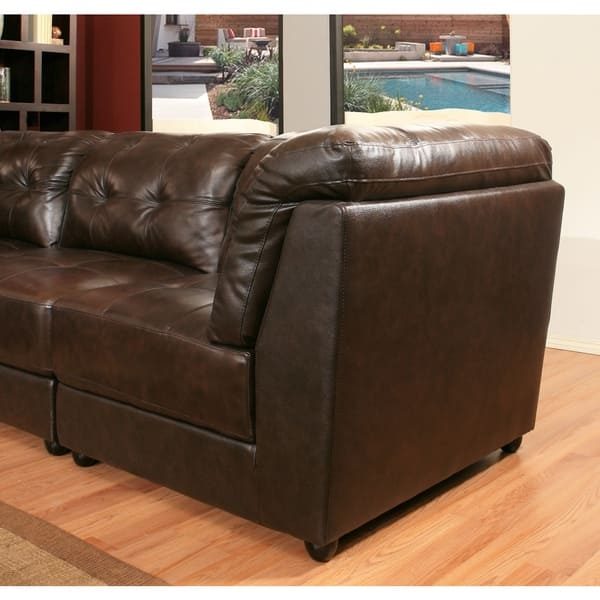 Shop Abbyson Montreal 6 Piece Top Grain Dark Brown Leather ...