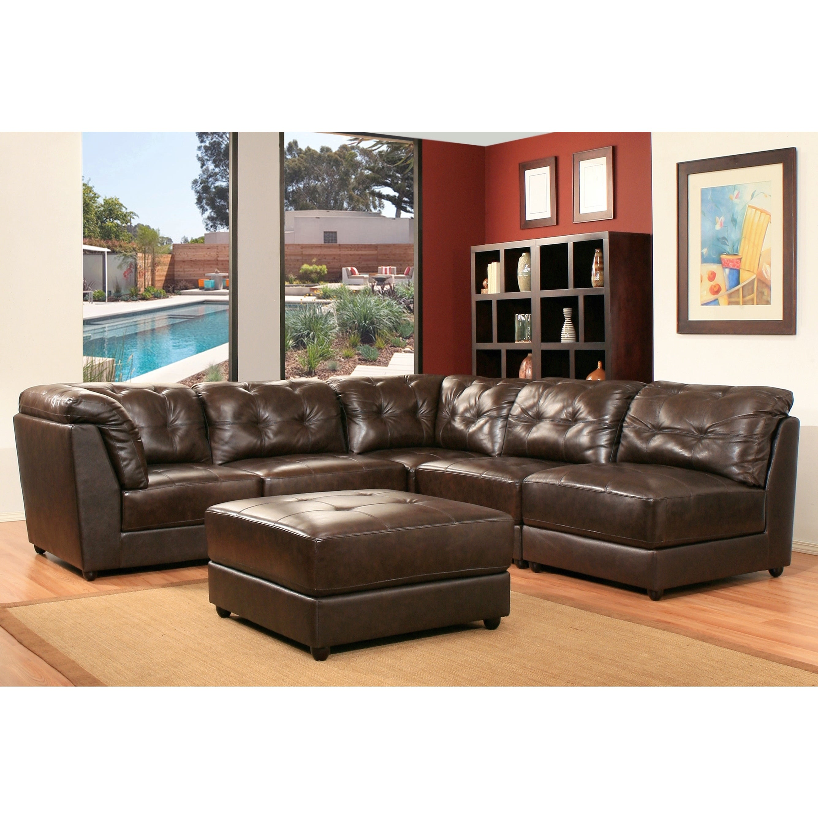 Abbyson Montreal 6 Piece Top Grain Dark Brown Leather Modular Sectional
